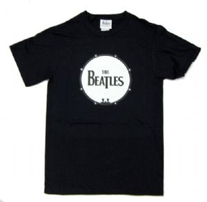 The Beatles Drum Logo Design Mens Black T-Shirt